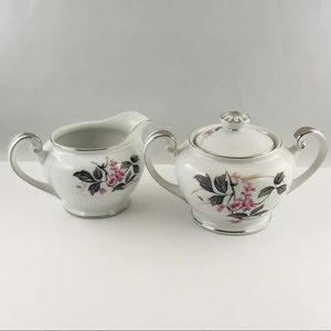 Phoenix China Creamer Sugar Bowl Pink Dawn Japan